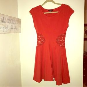 Forever 21 red mini dress with lace sides size L